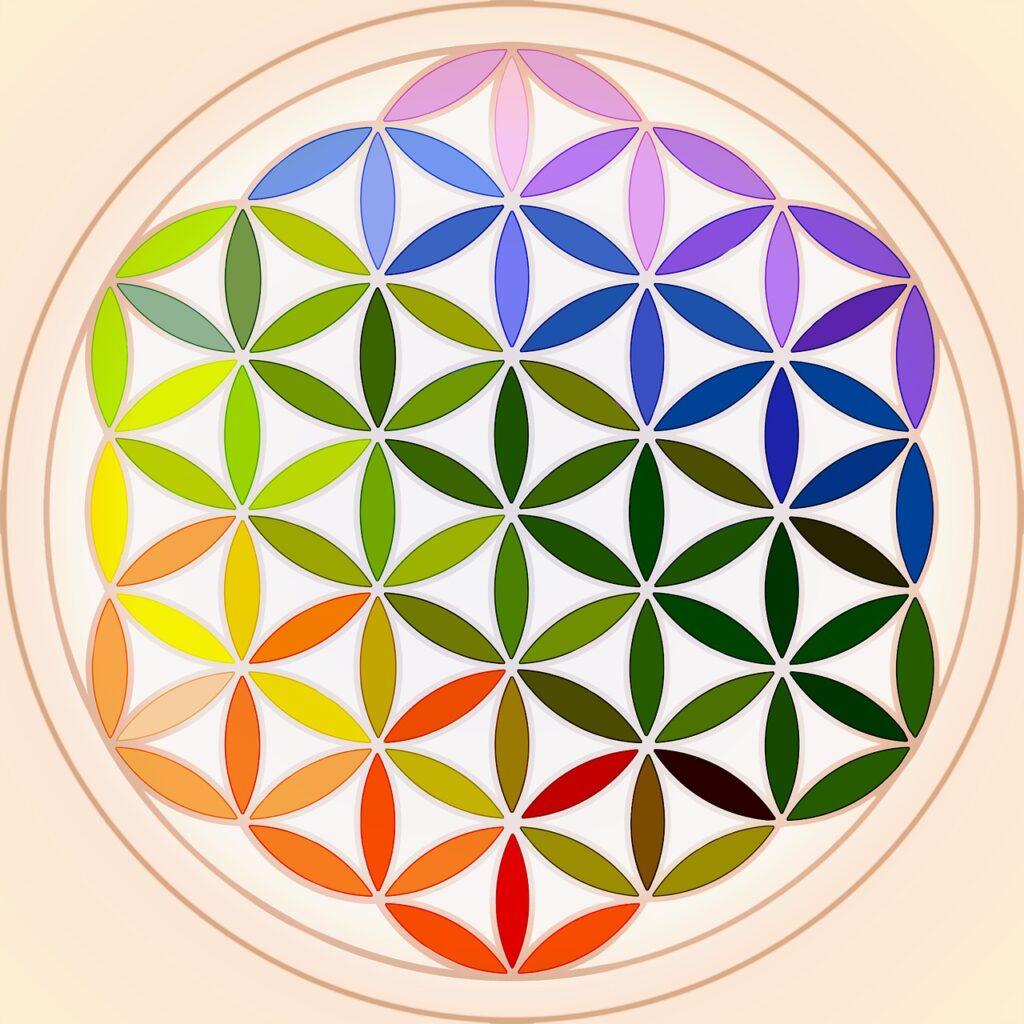mandala, rainbow, colorful